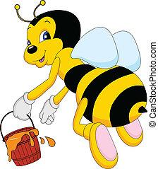 seau miel, dessin animé, abeille