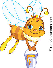 seau miel, tenue, abeille
