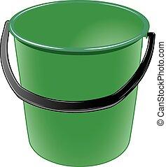 seau, noir, poignée, vert, plastique