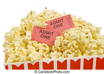 seau popcorn, à, billet film