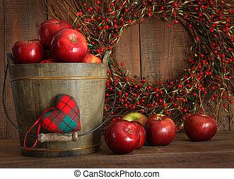 seau, vacances, bois, cuisson, pommes