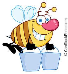 seaux, miel, voler, abeille