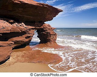 The Canadian province of Prince Edward Island and its eroding red cliffs of Seaview on the Gulf of St. Lawrence make for some interesting formations.