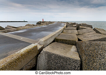 seawall with lighthouse