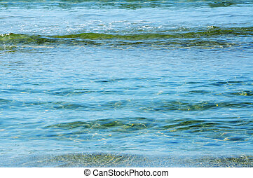closeup of a sea of calm crystal clear water