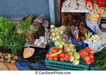 Seaweed and vegetables on the market in Ancud, Chiloe Island, Chile