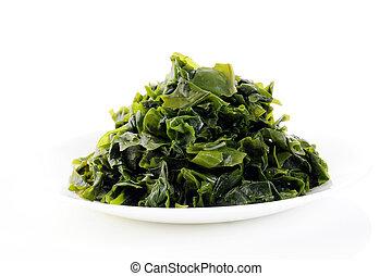 Seaweed on white dish
