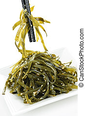 Seaweed salad - Plate of wakame seaweed salad with ...