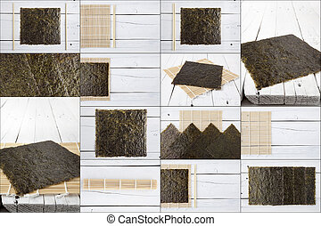 Seaweeds and makisu collage