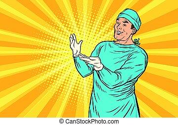 sebészet, után, sebész, mosolygós, orvos