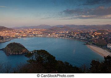 sebastian, panoramisch, san, spanien, gipuzkoa