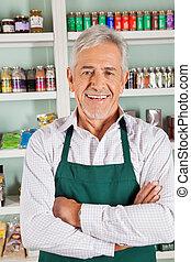 sebejistý, mužský, vlastník, stálý, do, grocery store