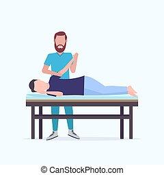 sebesült, gyógyulás, fogalom, türelmes, tele, fekvő, masszőr, kézikönyv, kéz, hosszúság, gyógyász, terápia, bánásmód, ember, rehabilitáció, asztal, sport, masszázs, masszázs, fizikai