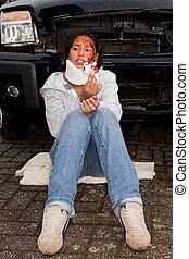 sebesült, után, egy, autóbaleset