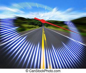 sebességmérő, autóút