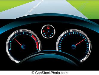 sebességmérő, egyszintű, fordulatszámmérő, -, műszerfal, autó, fűtőanyag, érzékelő