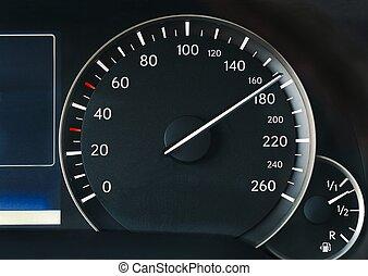 sebességmérő, közül, egy, autó