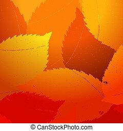 sec, 10, feuilles, eps, automne, template.