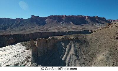 sec, aérien, travertin, paysage aride, balayage, cliffs.