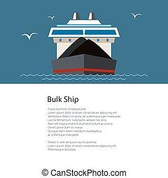 sec, affiche, bateau, cargaison