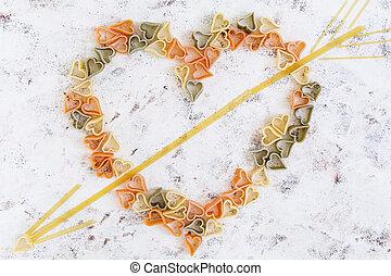 sec, amour, sommet coloré, arrière-plan., pâtes, blanc, vue
