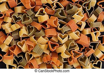 sec, amour, sommet coloré, sombre, arrière-plan., pâtes, vue
