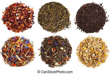 sec, assortiment, blanc, isolé, thé