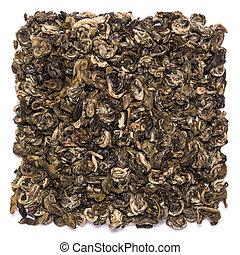 sec, bilochun, escargot, thé, isolé, tas, fond, blanc vert
