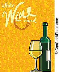 sec, blanc, carte, vin