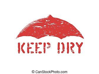 sec, boîte, ou, grunge, moyens, timbre, logistique, non, isolé, signe, vecteur, cargo., humidité, parapluie, garder, symbole