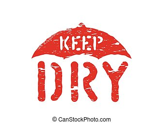 sec, boîte, parapluie, non, timbre, cargaison, symbole, moyens, isolé, garder, vecteur, moisture., grunge, logistique, signe, ou