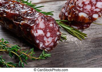 sec, bois, saucisse, salami., table