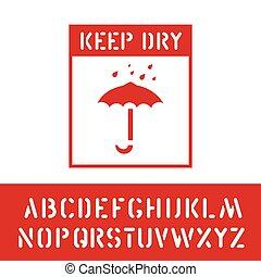 sec, cargaison, protéger, timbre, alphabet, signe., fragile., garder, bois, vecteur, boîte, humidité