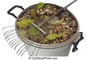 sec, casier, feuilles, râteau, déchets