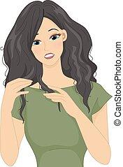 sec, cheveux, crépu
