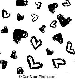 sec, coeur, moderne, pattern., seamless, main, vecteur, brosse, encre, branché