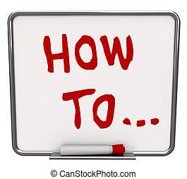 sec, comment, effacer, planche, mots, instructions