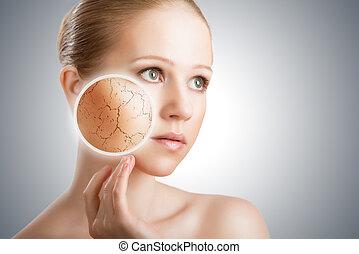sec, concept, jeune, figure, effets, femme, traitement cosmétique, peau, care.