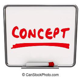 sec, concept, mot, idée, effacer, planche, innovateur, nouveau
