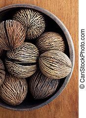 sec, décor, noix coco, maison