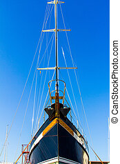 sec, denia, dock, construction, sous, bateau, espagne