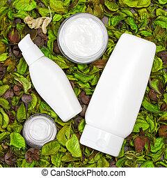 sec, feuilles, cosmétique, produits, soin peau