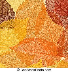 sec, feuilles, eps, automne, 8, template.
