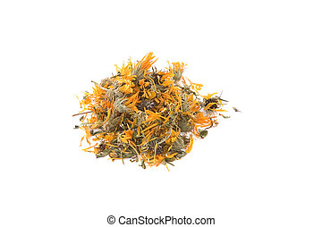 sec, fleur, thé, calendula, souci, ou