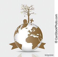 sec, globe., déboisé, arbre, vecteur, sauver, mondiale,...