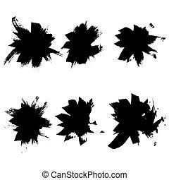 sec, illustration., résumé, brosses, main, vecteur, encre, dessiné, set.