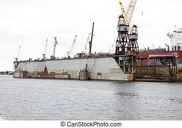 sec, industrie, bâtiment, dock, chantier naval, bateau