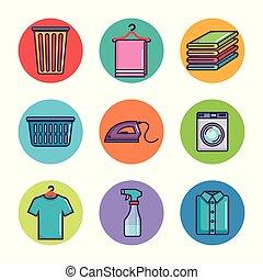 sec, lessive, nettoyage, icônes