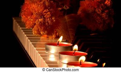 sec, lumière, fleurs, instrument, piano, bougie, musical