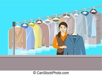 sec, magasin, fille asiatique, nettoyage, réception